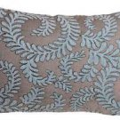 Pillow Decor - Brackendale Ferns Sea Blue Rectangular Throw Pillow
