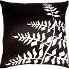 Pillow Decor - Black with White Bold Fern Throw Pillow  - SKU: KB1-0009-04-20