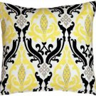 Pillow Decor - Linen Damask Print Yellow Black 16x16 Throw Pillow