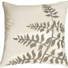 Pillow Decor - White with Gray Bold Fern Throw Pillow  - SKU: KB1-0009-08-20