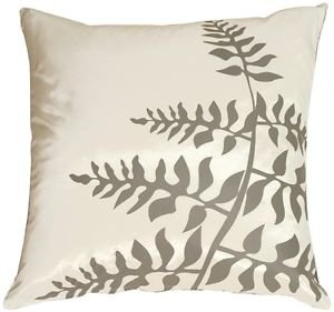 Pillow Decor - White with Gray Bold Fern Throw Pillow  - SKU: KB1-0009-08-20