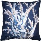 Pillow Decor - Ocean Reef Coral on Navy Throw Pillow 20x20