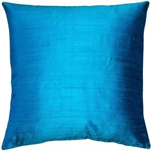 Pillow Decor - Sankara Peacock Blue Silk Throw Pillow 20x20