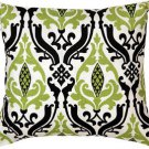 Pillow Decor - Linen Damask Print Green Black 16x16 Throw Pillow