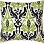 Pillow Decor - Linen Damask Print Green Black 16x16 Throw Pillow