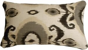 Pillow Decor - Bold Gray Ikat 12x20 Decorative Pillow  - SKU: VB1-0001-02-92