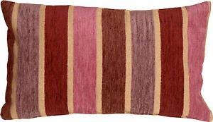 Pillow Decor - Savannah Stripes 12x20 Pink Purple Chenille Throw Pillow