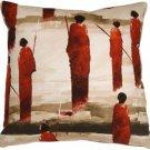 Pillow Decor - Masai Warrior 22x22 Red Throw Pillow  - SKU: VB1-0013-02-22