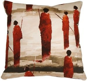 Pillow Decor - Masai Warrior 22x22 Red Throw Pillow  - SKU: VB1-0013-02-22