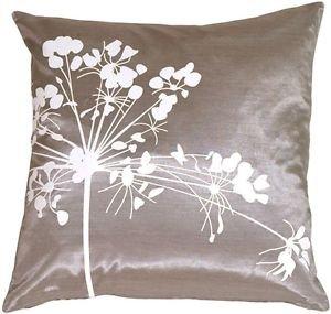 Pillow Decor - Gray with White Spring Flower Throw Pillow  - SKU: KB1-0008-01-16