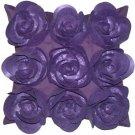 Pillow Decor - Felt Flowers in Purple 17x17 Throw Pillow  - SKU: HD1-0001-03-17