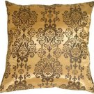 Pillow Decor - Gold with Brown Baroque Pattern Throw Pillow