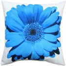 Pillow Decor - Bold Daisy Flower Blue Throw Pillow 20X20  - SKU: PD2-0064-04-20