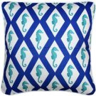 Pillow Decor - Capri Blue Argyle Seahorse Throw Pillow 20x20