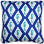 Pillow Decor - Capri Blue Argyle Seahorse Throw Pillow 20x20