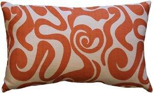 Pillow Decor - Tuscany Linen Swirl Orange Throw Pillow 12x20