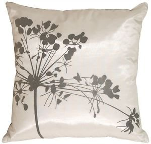 Pillow Decor - White with Gray Spring Flower Throw Pillow  - SKU: KB1-0008-08-16