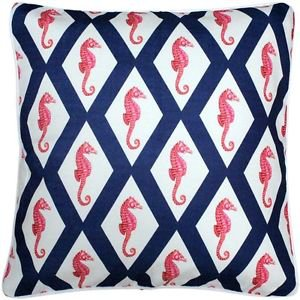 Pillow Decor - Sea Island Navy and Red Argyle Seahorse Throw Pillow 20x20