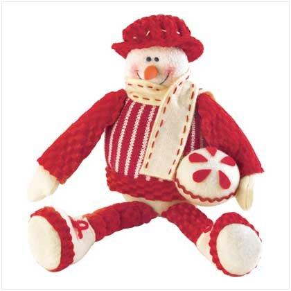 Sitting Snowman Plush Figurine