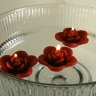 12 Burgandy Floating Rose Wedding Party Candles candle