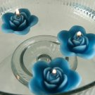 12 Teal Floating Rose Wedding Party Candles candle