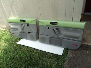 VW Volkswagen Beetle Interior Door Panels Set LH & RH Green/Grey Power OEM