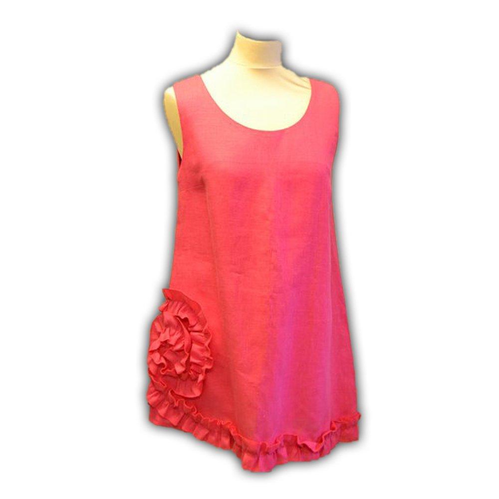 Pink Linen Pinafore Dress