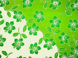 Hibiscus Sarong Lime Green / White Hi-25