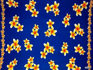 Plumeria Sarong Blue / Yellow