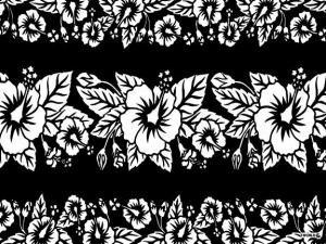 Hibiscus Sarong Black / White - Hi-32