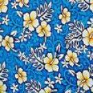 Hibiscus Half Sarong Blue / White