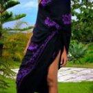 Hibiscus Plus Size Sarong Black / Purple
