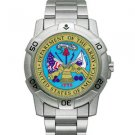 Chrome Military Watch, Us Army Vintage Crest, Stainless Ban