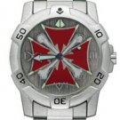 Chrome Biker Watch, Iron Cross W/ Bones