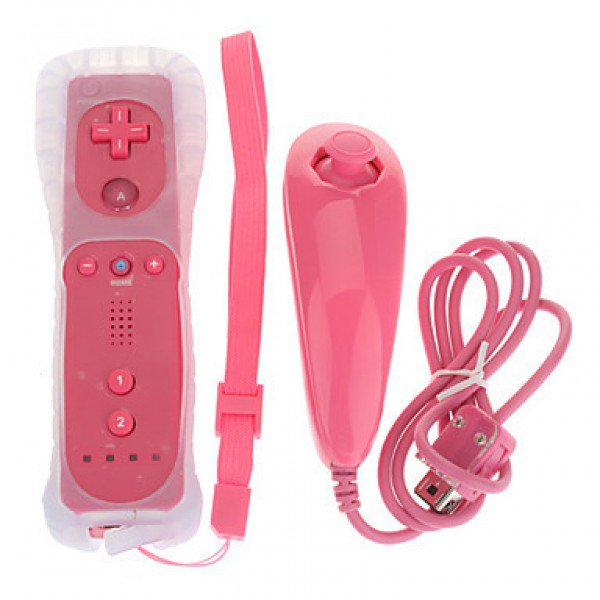 Remote and Nunchuk Controller for Wii/Wii U Pink