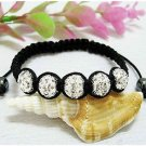 CLEAR SHAMBALLA CRYSTAL BALL ADJUSTABLE BRACELET