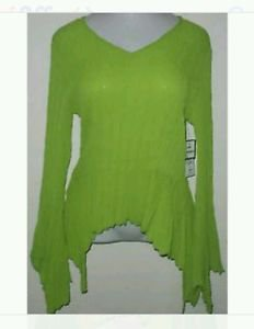 DRESS U BY SHARON LIME GREEN V NECK BLOUSE