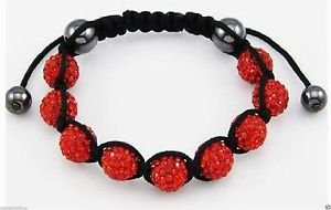 RED SHAMBALLA BRACELET DISCO BALL CZ CRYSTALS