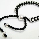 BLACK FRIENDSHIP BRACELET ADJUSTABLE CHARM