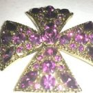 SPARKLY PURPLE RHINESTONES MALTESE CROSS BROOCH AND PEN