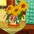 Sunny Window ~ Art Print ~ Sunflowers in Clarice Cliff Vase Limited Edition