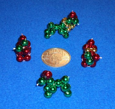 ADORABLE MARDI GRAS BEAD DOGS IN CHRISTMAS COLORS + BONUS NEW ORLEANS DOUBLOON