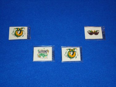 *BRAND NEW*  NEW ORLEANS MARDI GRAS TEMPORARY TATTOOS MASK JESTER SET #1