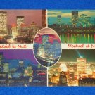 VINTAGE PHENOMENAL MONTREAL QUEBEC CANADA AT NIGHT SKYLINE 5 SCENES POSTCARD