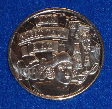 CHRISTOPHER COLUMBUS SHIP BETSY ROSS FLAG NEW ORLEANS MARDI GRAS DOUBLOON TOKEN