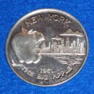THE BIG APPLE AUTHENTIC NEW ORLEANS MARDI GRAS DOUBLOON TOKEN NEW YORK SKYLINE