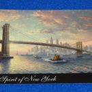 FABULOUS THOMAS KINKADE SPIRIT OF NEW YORK CITY SKYLINE ART CARD BROOKLYN BRIDGE