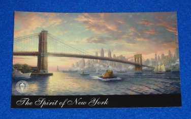 FABULOUS THOMAS KINKADE SPIRIT OF NEW YORK CITY SKYLINE ART CARD BROOKLYN BRIDGE