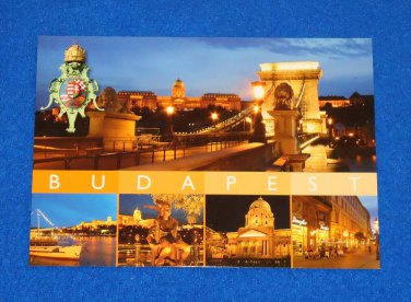 *BRAND NEW* UNUSED BUDAPEST HUNGARY 5 SCENES POSTCARD CHAIN BRIDGE DANUBE RIVER