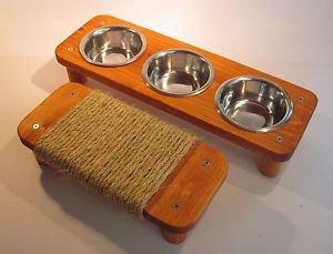 "3 bowl pet feeding station + 11 1/2"" Mini flat cat scratcher"